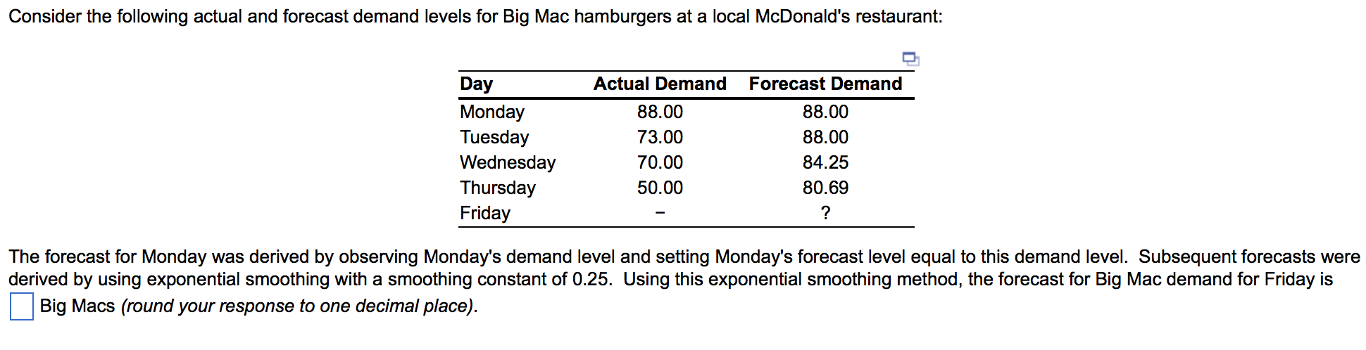 mcdonalds forecasting methods