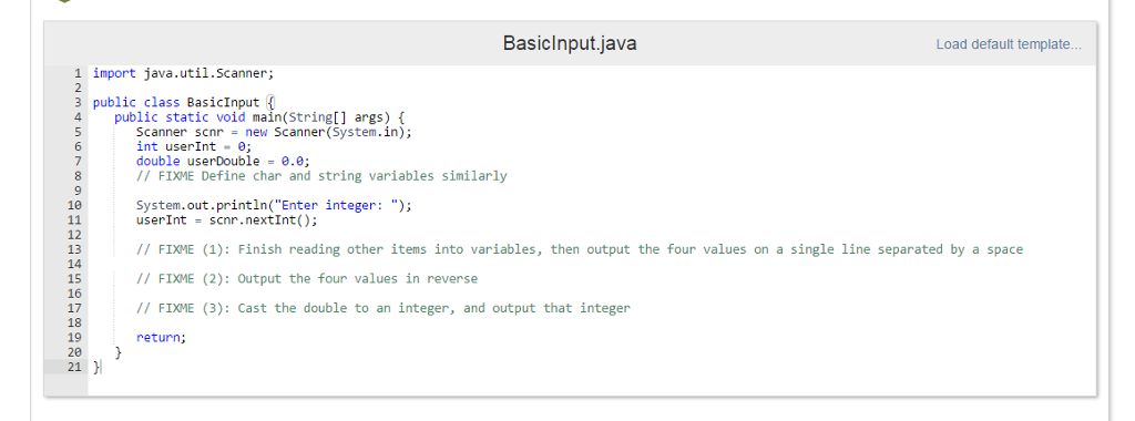 Solved: 2.19 Warm Up: Variables, Input, And Casting (Java ...