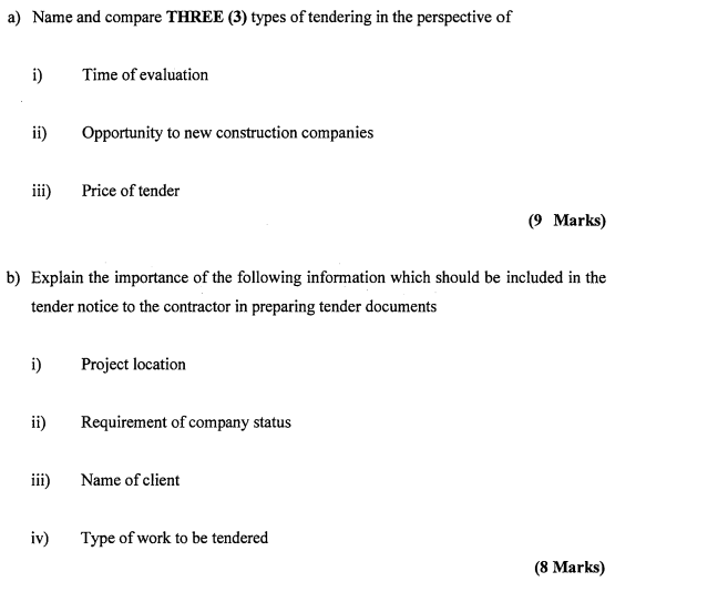 Solved: Name And Compare THREE (3) Types Of Tendering In T