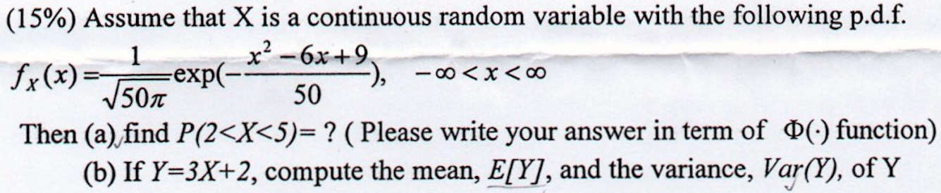 continuous random variable x has pdf