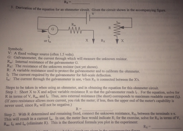Solved Derivation Of The Equation For An Ohmmeter Circuit