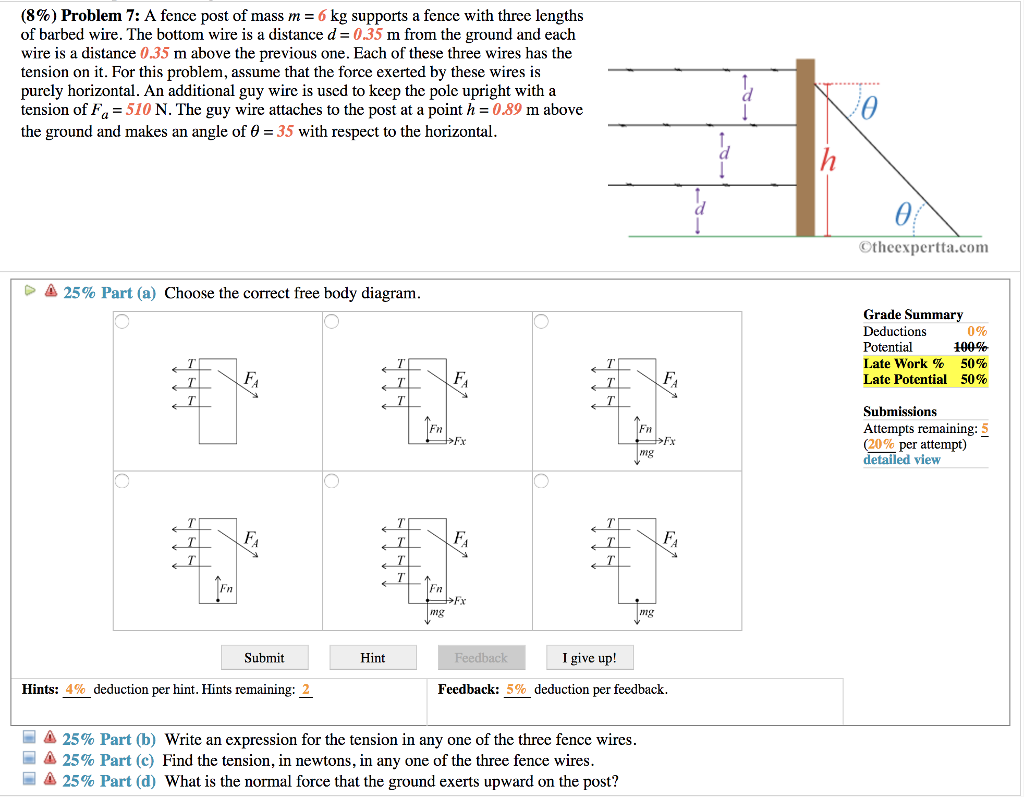 Solved: (896) Problem 7: A Fence Post Of Mass M 6 Kg Suppo ...
