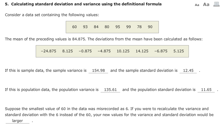 Solved 5 Calculating Standard Deviation And Variance Usi