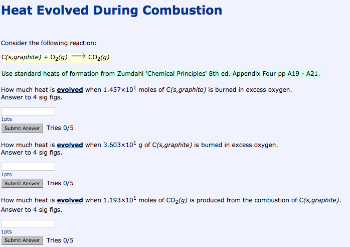 heat evolved during combustion