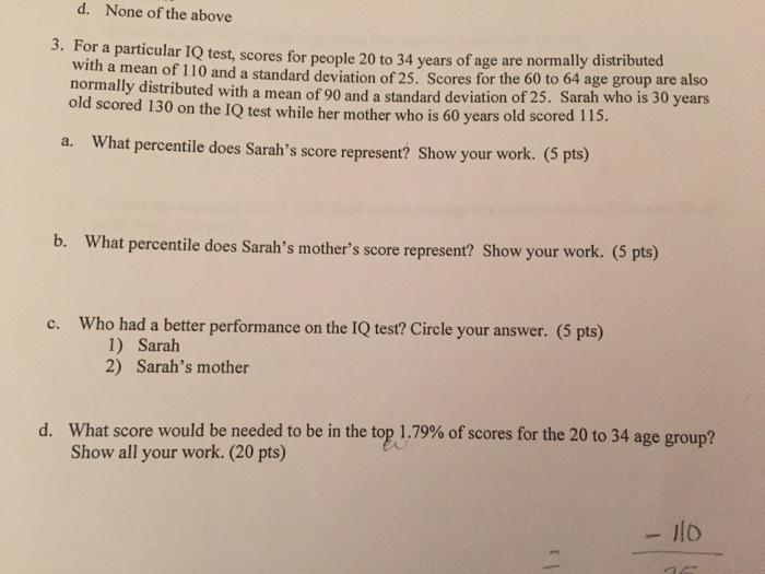 iq test according to age