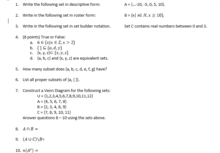 Solved 1 2 3 Write The Following Set In Descriptive Fo