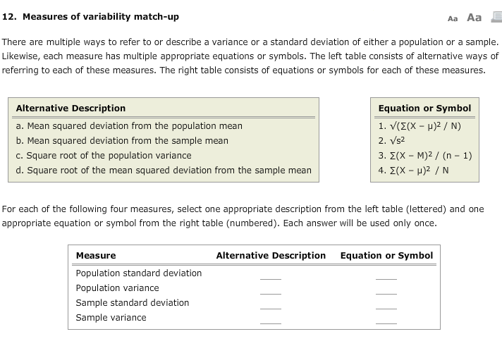 Solved 12 Measures Of Variability Match Up Aa Aa There A