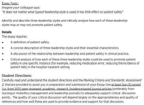 Solved The Essay Requires A Definition Of Patient Safety  Essay Tonic Magine Your Colleague Says It Does Not Matter What Typeof Leadership  Style Is Used