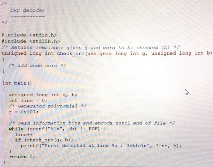 In /* Add Code Here */ Line 10  I'm Missing Some C    | Chegg com
