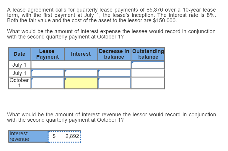 Solved A Lease Agreement Calls For Quarterly Lease Paymen