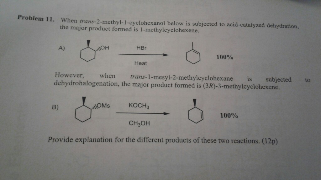 dehydration of 1 methyl 1 cyclohexanol