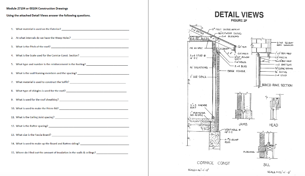 Solved module 27104 or 00104 construction drawings detail module 27104 or 00104 construction drawings detail views using the attached detail views answer the following malvernweather Gallery