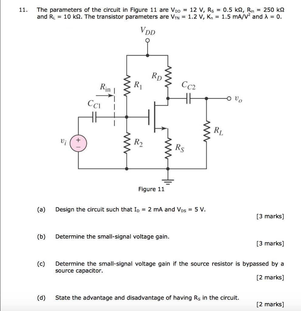 Solved: 11  The Parameters Of The Circuit In Figure 11 Are