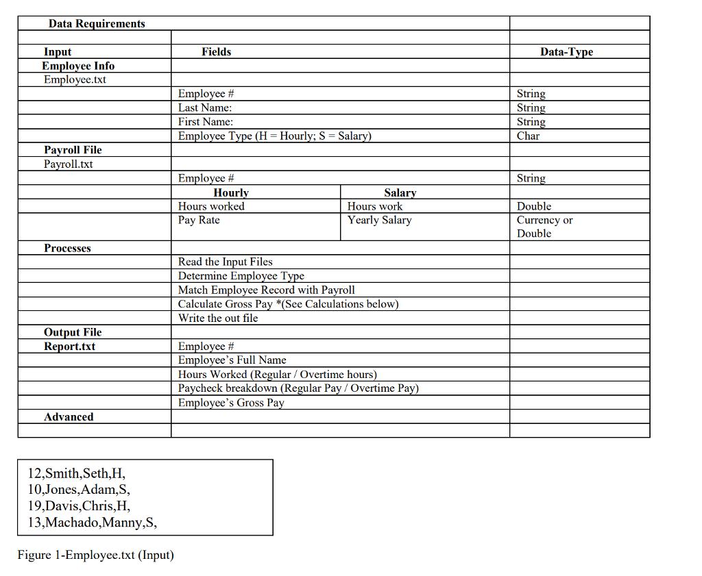 Data Requirements Input Fields Data Tvpe Emplovee Info Employee Txt Employee Last Name