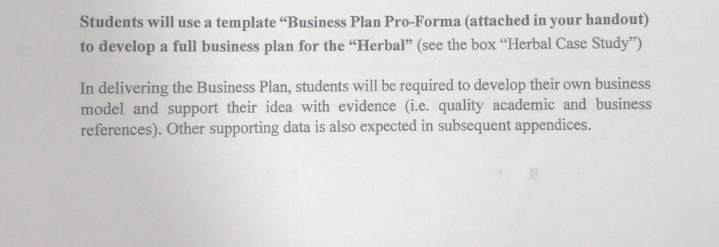 Solved students will use a template business plan pro fo students will use a template business plan pro forma attached in your handout cheaphphosting Choice Image