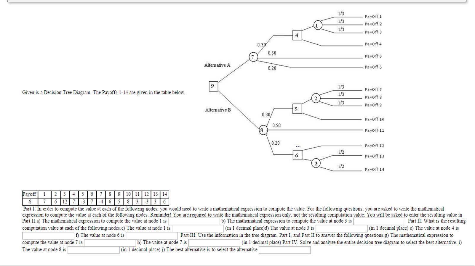 Given is a decision tree diagram the payoffs 1 14 chegg given is a decision tree diagram the payoffs 1 14 ccuart Images