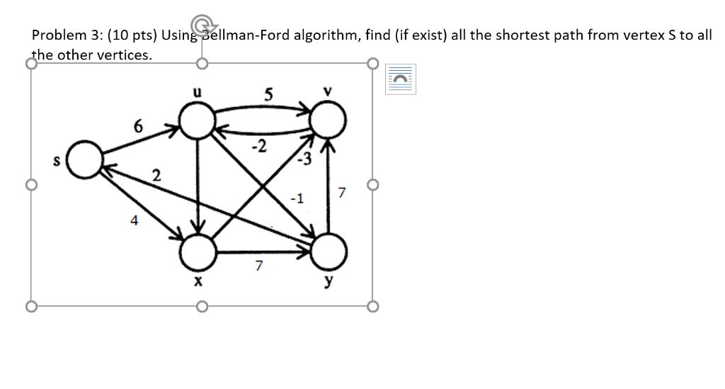 Solved: Problem 3: (10 Pts) Using Bellman-Ford Algorithm