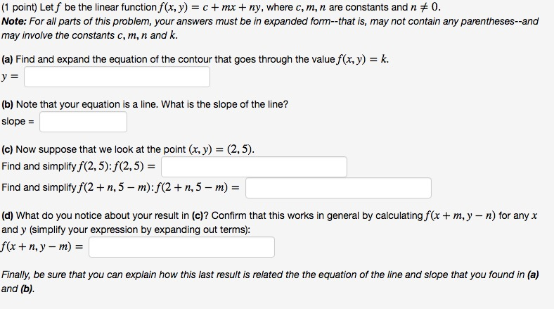 Solved Let F Be The Linear Function Fx Y C Mx Ny