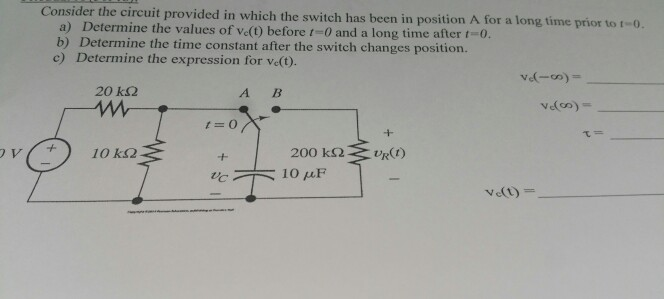 Consider the circuit provided in which the switch