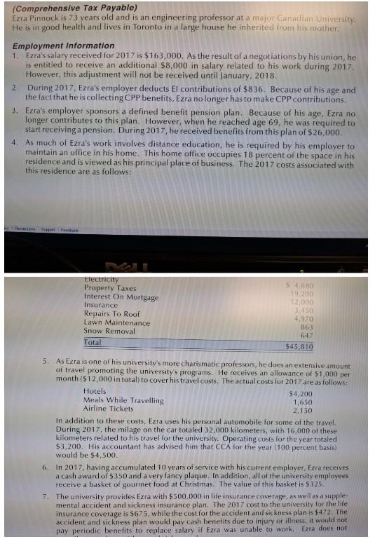 Solved: (Comprehensive Tax Payable) Ezra Pinnock Is 73 Yea