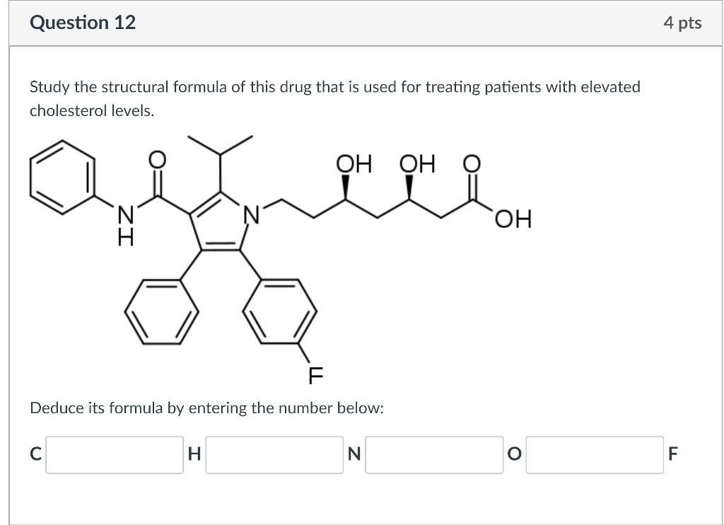 Solved Question 12 4 Pts Study The Structural Formula Of