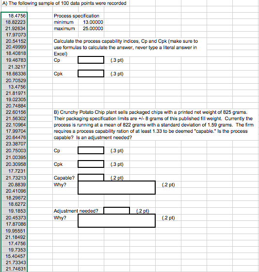 Solved: A) The Following Sample Of 100 Data Points Were Re