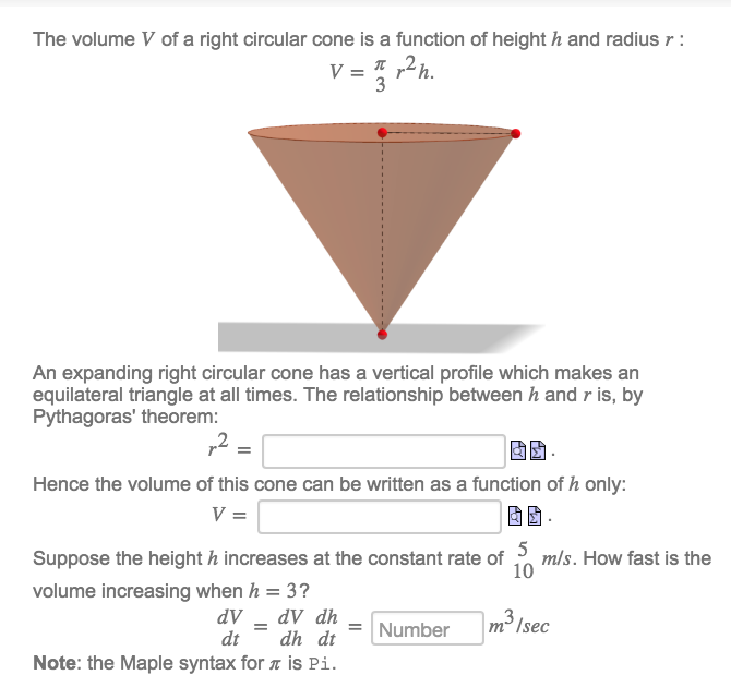 the volume v of a right circular cone is a functio com the volume v of a right circular cone is a functio
