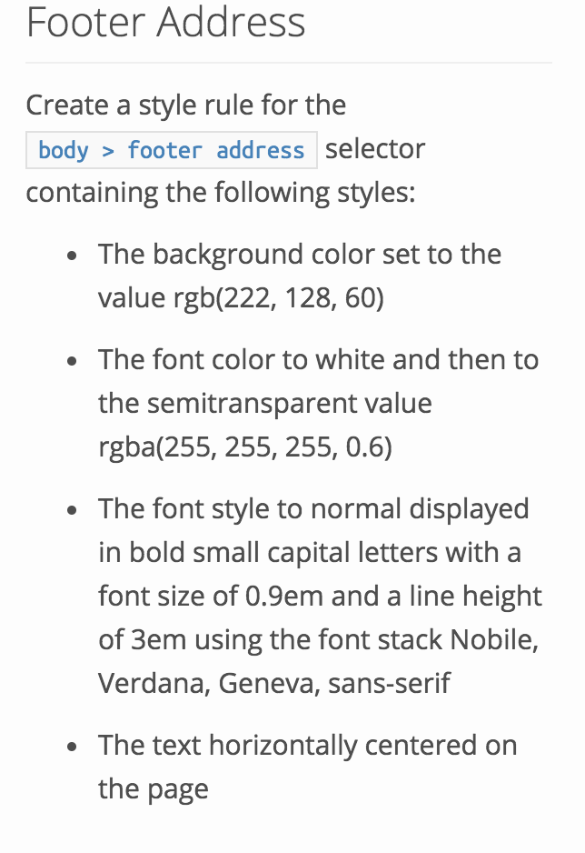 Solved: Footer Address Create A Style Rule For The Bodyfoo
