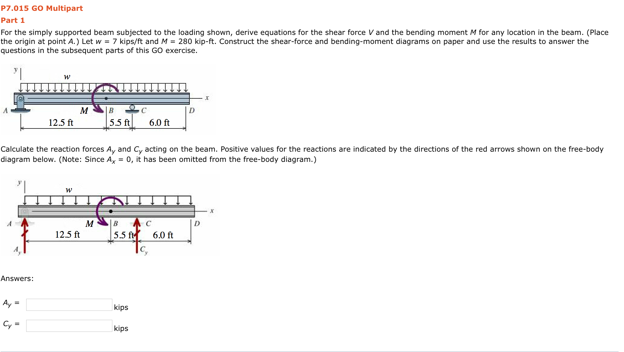 Solved Part 2 Determine The Shear Force Acting At Each Of Reactant Bending Moment On Diagram