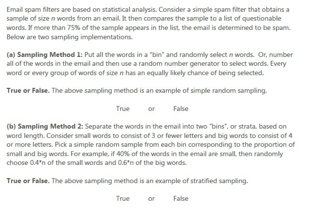 Solved: Email Spam Filters Are Based On Statistical Analys