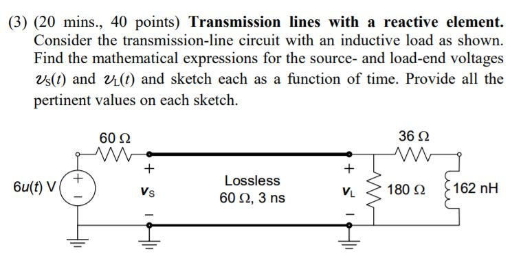 (3) (20 mins., 40 points) Transmission lines with a reactive element. ctive load as shown. Find the mathematical expressions for the source- and load-end voltages 25(t) and U(t) and sketch each as a function of time. Provide all the pertinent values on each sketch 60 Ω 36 Ω Lossless 60 2, 3 ns < > 180 (2 162 nH