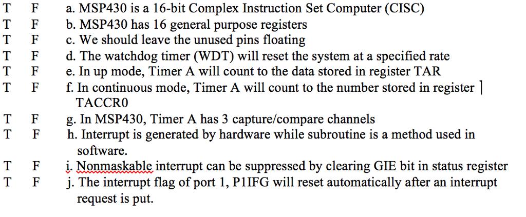 Solved: T Fa  MSP430 Is A 16-bit Complex Instruction Set C
