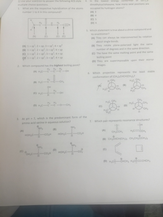 Solved: Scantron To Answer The Following ACS Style Dimethy