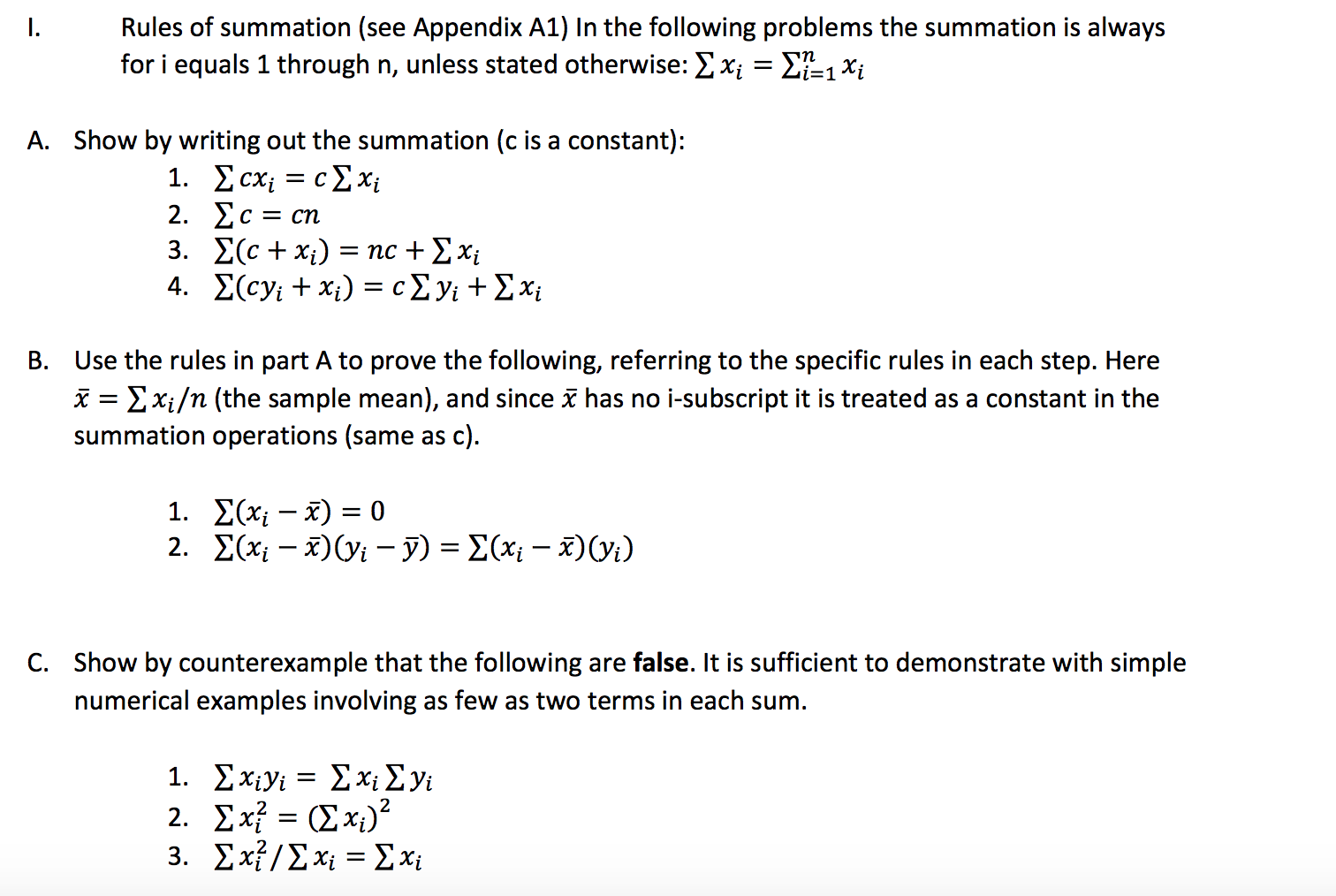 Solved: Rules Of Summation (see Appendix A1) In The Follow