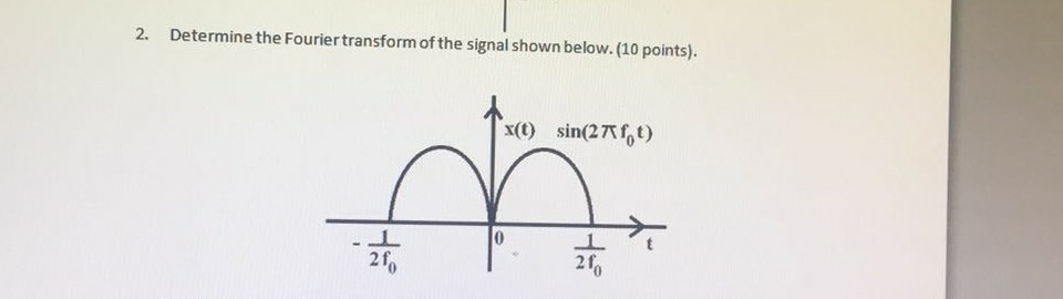 2. Determine the Fouriertransform of the signal shown below. (10 points). x( in(27fot) 2f 2f