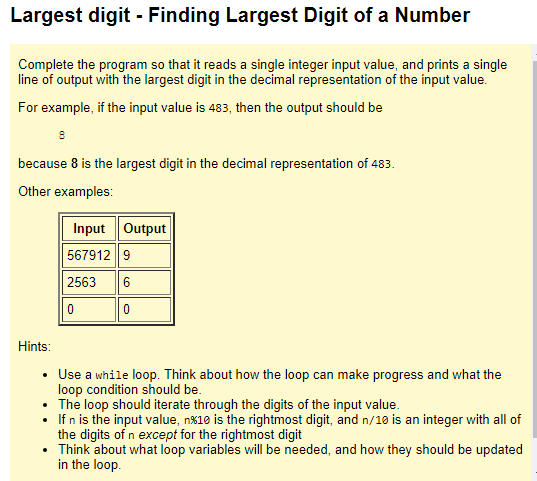 Solved: Largest Digit - Finding Largest Digit Of A Number