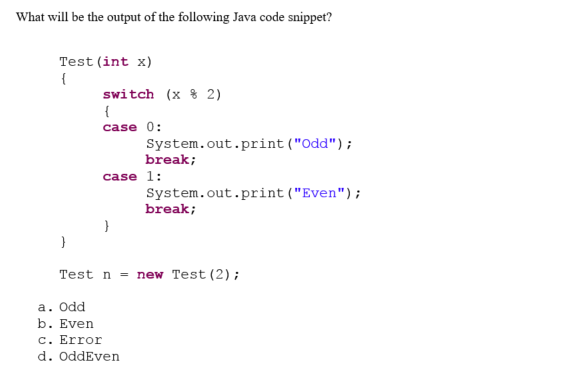 what is the output of the following java code
