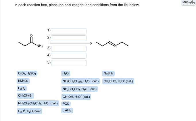 in each reaction box place the best reagent and conditions from the list below oh - photo #16