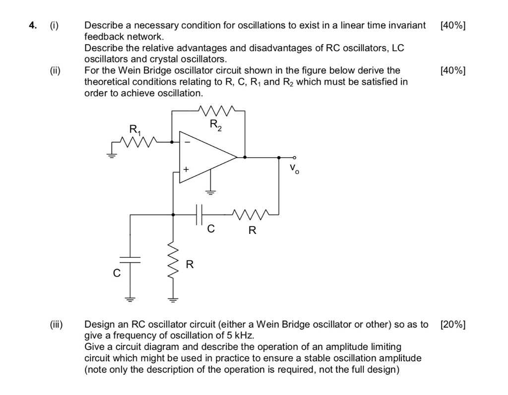 Solved I 40 Describe A Necessary Condition For Oscil Crystal Oscillator Circuit Schematic Diagram Oscillations To Exist In
