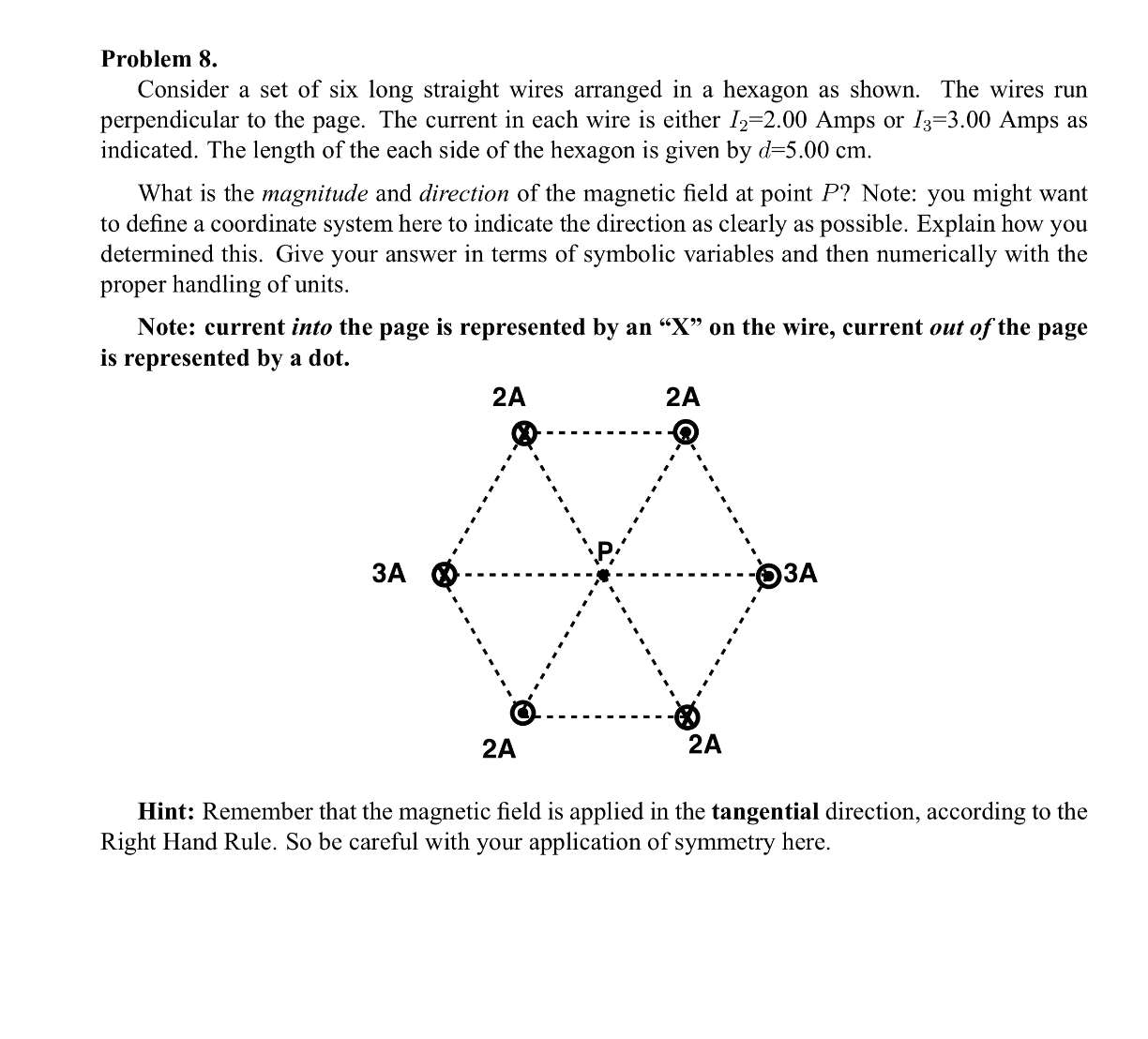 Solved: Consider A Set Of Six Long Straight Wires Arranged ...