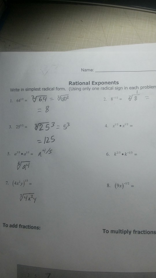 simplest form exponents  Solved: Name Rational Exponents Write In Simplest Radical ...