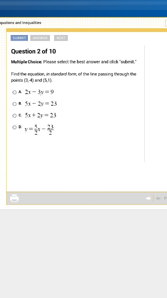 Solved Find The Equation In Standard Form Of The Line P