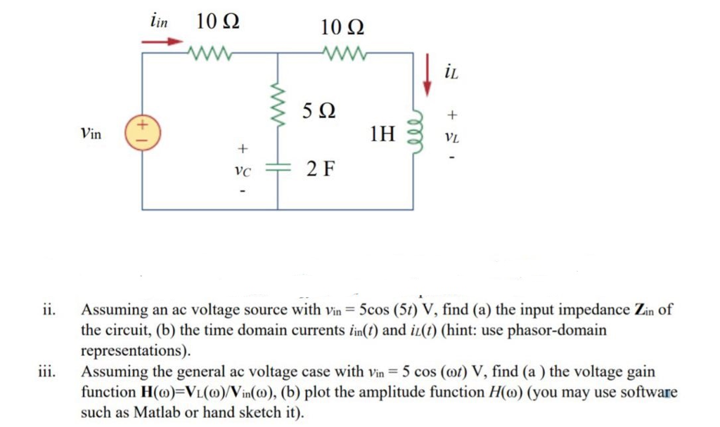 in 10Ω 10Ω iL lL 5Ω Vin 1H vi ii Assuming an ac voltage source with vin 5cos (5t) V, find (a) the input impedance Zin of the circuit, (b) the time domain currentsnt) and i(t) (hint: use phasor-domain representations) ii. Assuming the general ac voltage case with vin 5 cos (ot) V, find (a) the voltage gain function H(0)=Vl(o)/Vin(a), (b) plot the amplitude function H(o) (you may use software such as Matlab or hand sketch it)