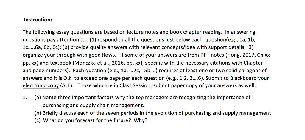 a three important factors why the top manag com instruction the following essay questions are based on lecture notes and book chapter reading