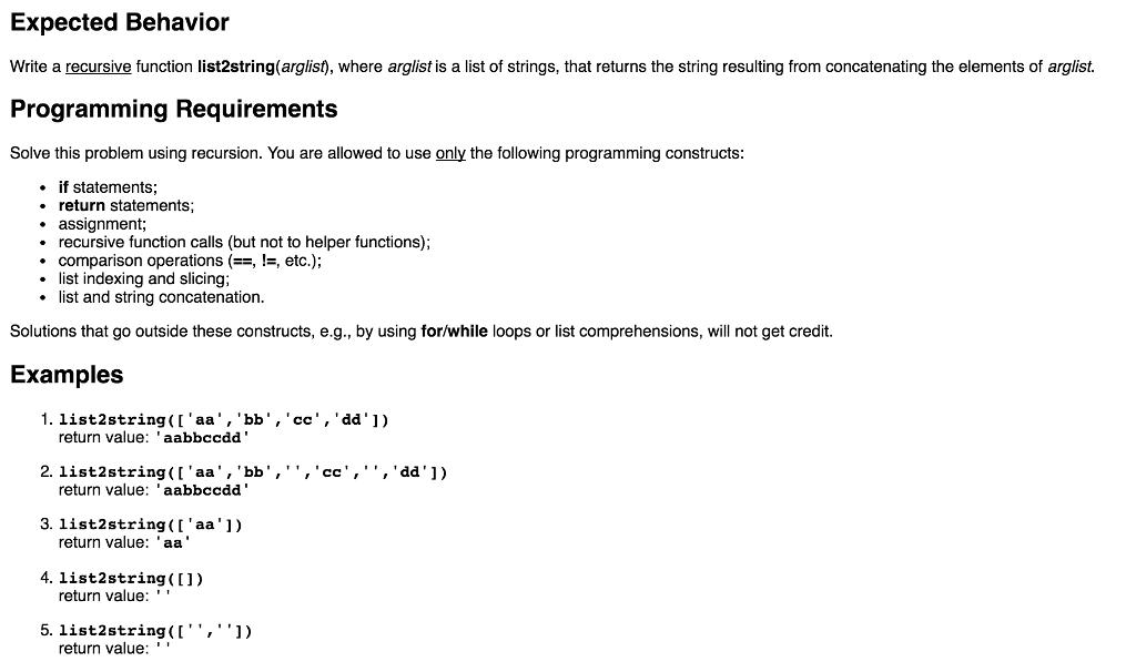 Solved: Write A Recursive Function List2string(arglist), W