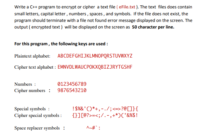 Solved Write A C Program To Encrypt Or Cipher A Text Fi