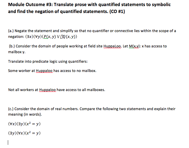 Solved Module Outcome 3 Translate Prose With Quantified
