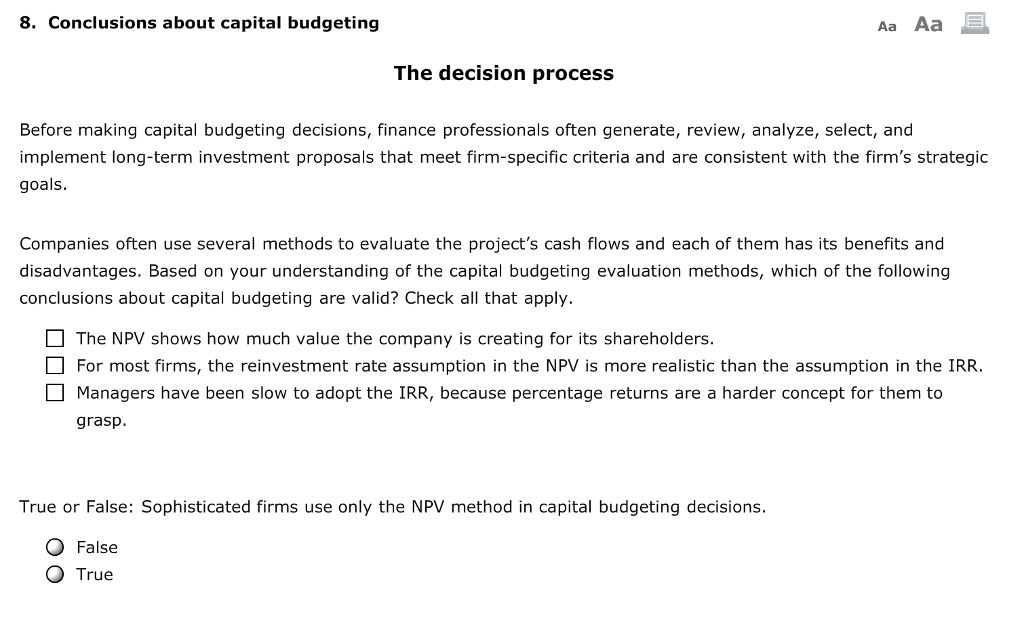 capital budgeting conclusion On this paper the reader will be able to find the rationale in the analysis of a specific capital budgeting case study definitions along with explanations related to capital budgeting such as internal rate of return (irr) and net present value (npv) will be provided and debriefed.