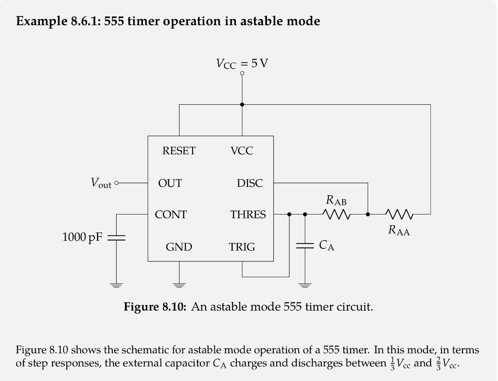 Solved Use Example 861 To Derive The Time Constant Equa 555 Timer Circuits Also Wiring Diagram On 8 Pin