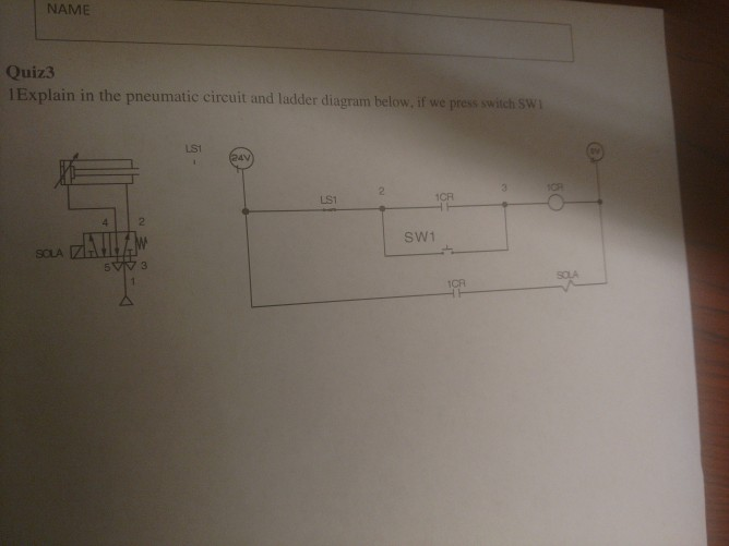 Solved name quiz3 1 explain in the pneumatic circuit and name quiz3 1 explain in the pneumatic circuit and ladder diagram below if we press ccuart Choice Image